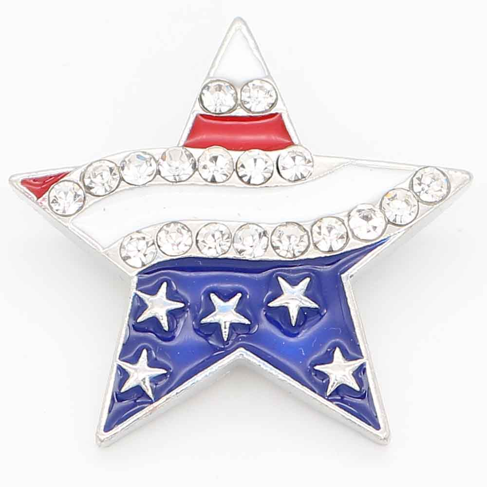 Snap Jewelry 18-20mm Enamel US Flag on Star Large