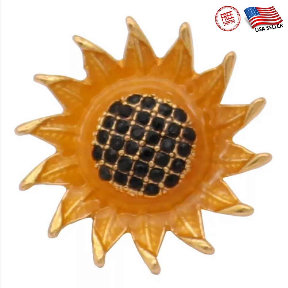 Snap Jewelry Rhinestone - Gold-Tone Sun Flower Black Center SM