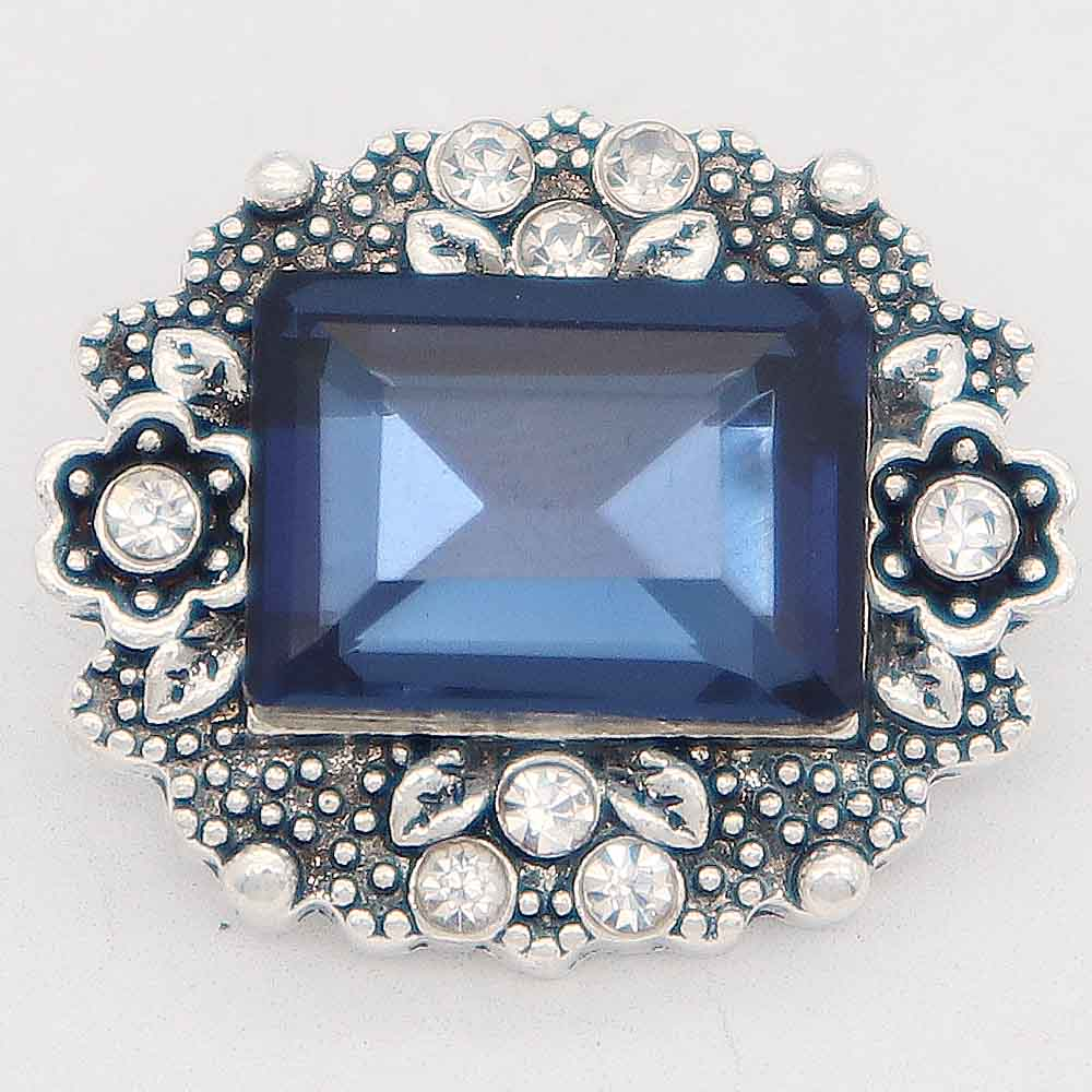 Snap Jewelry Rhinestone - Antique Dark Blue Emerald-cut