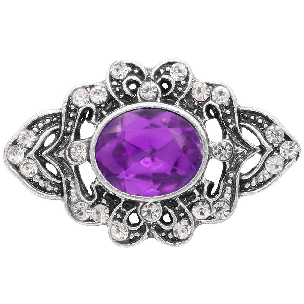 Snap Jewelry Rhinestone - Antique Purple Oval Stone