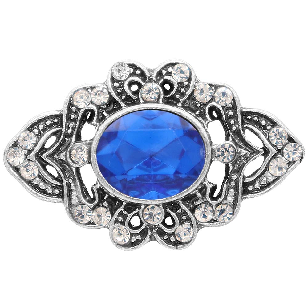 Snap Jewelry Rhinestone - Antique Blue Oval Stone