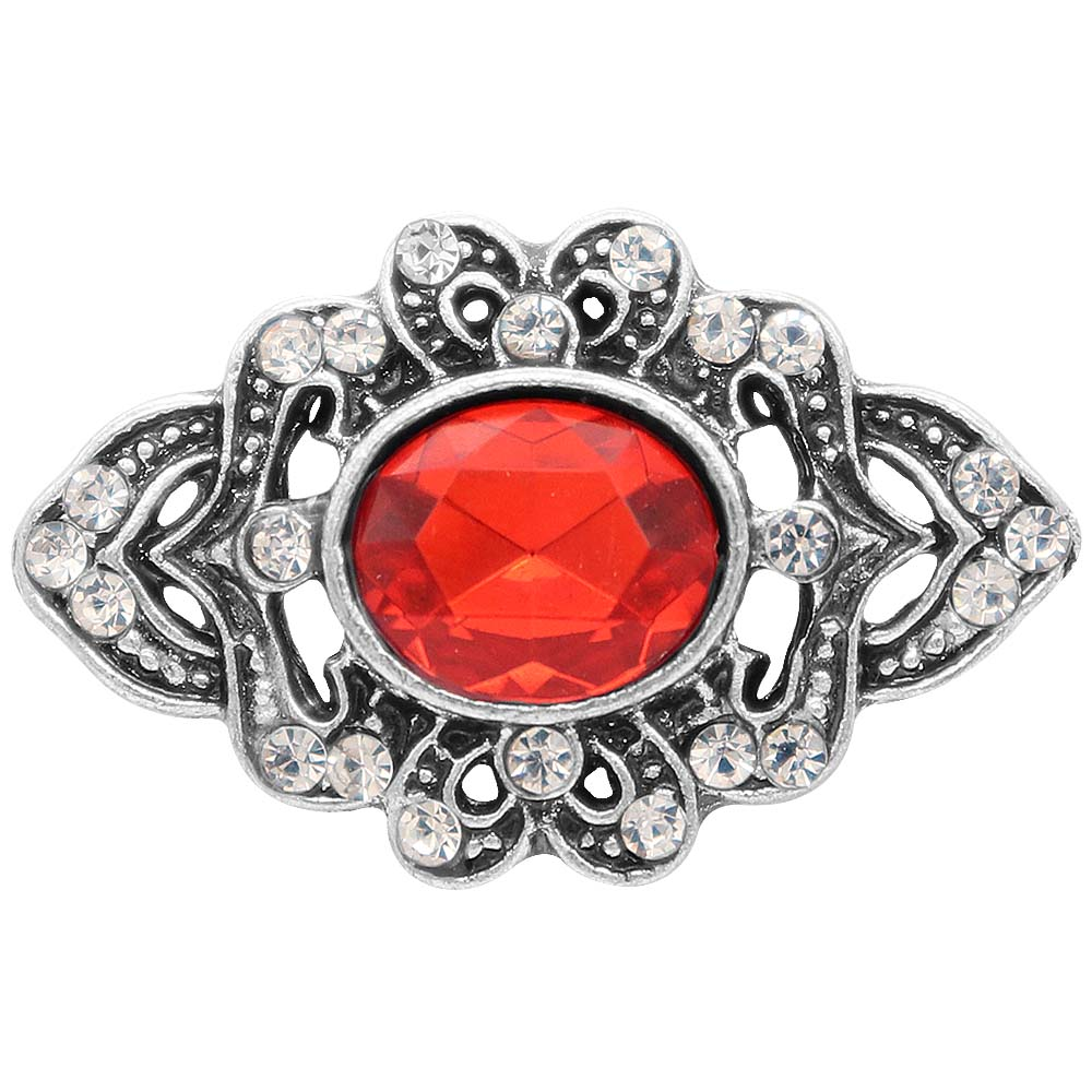 Snap Jewelry Rhinestone - Antique Ruby Oval Stone