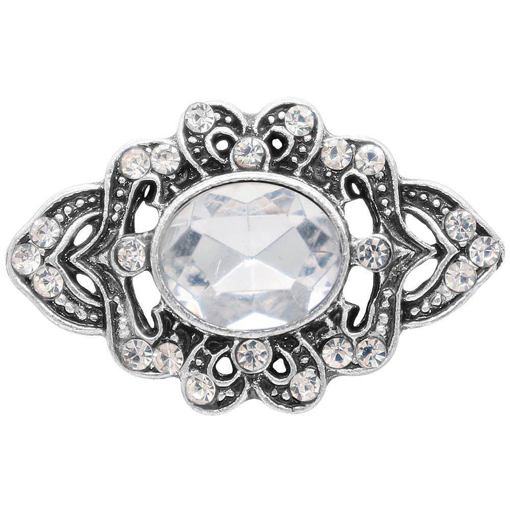 Snap Jewelry Rhinestone - Antique Clear Oval Stone