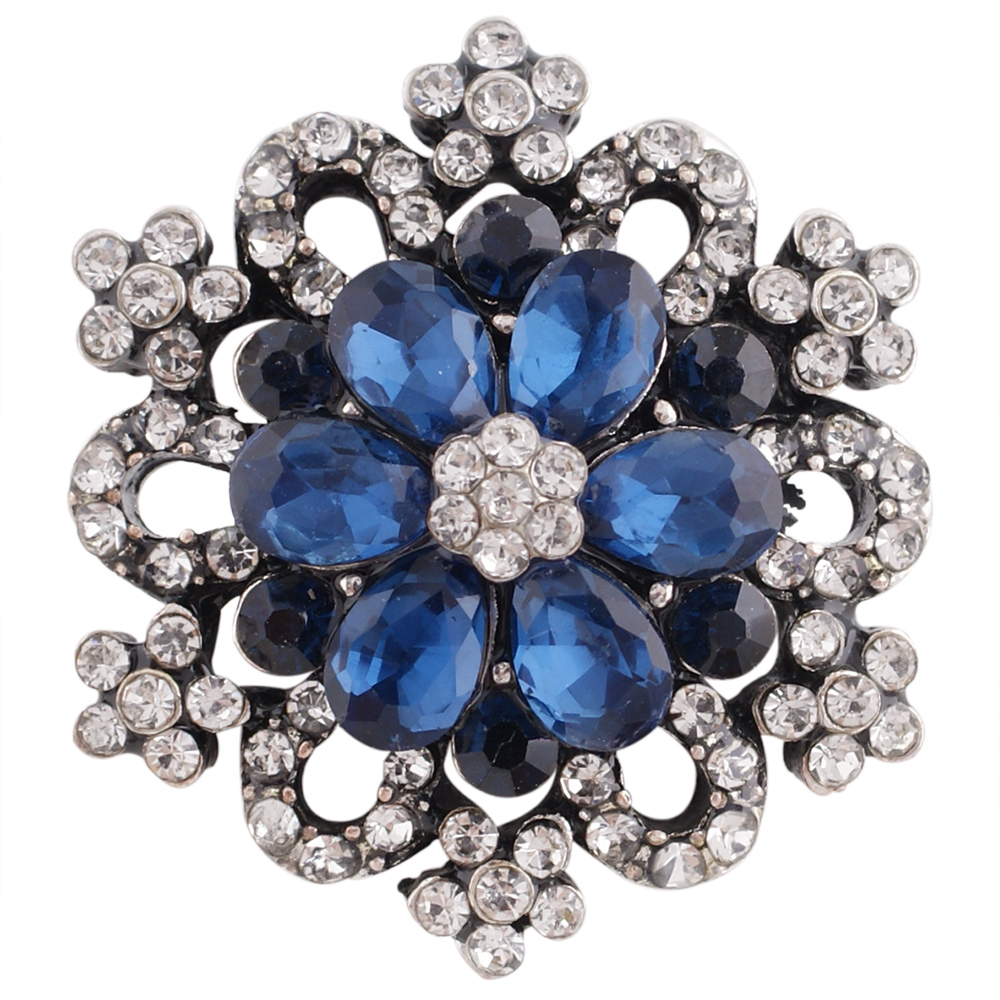 Snap Jewelry Rhinestone - Designer Flower Burst Clear & Blue