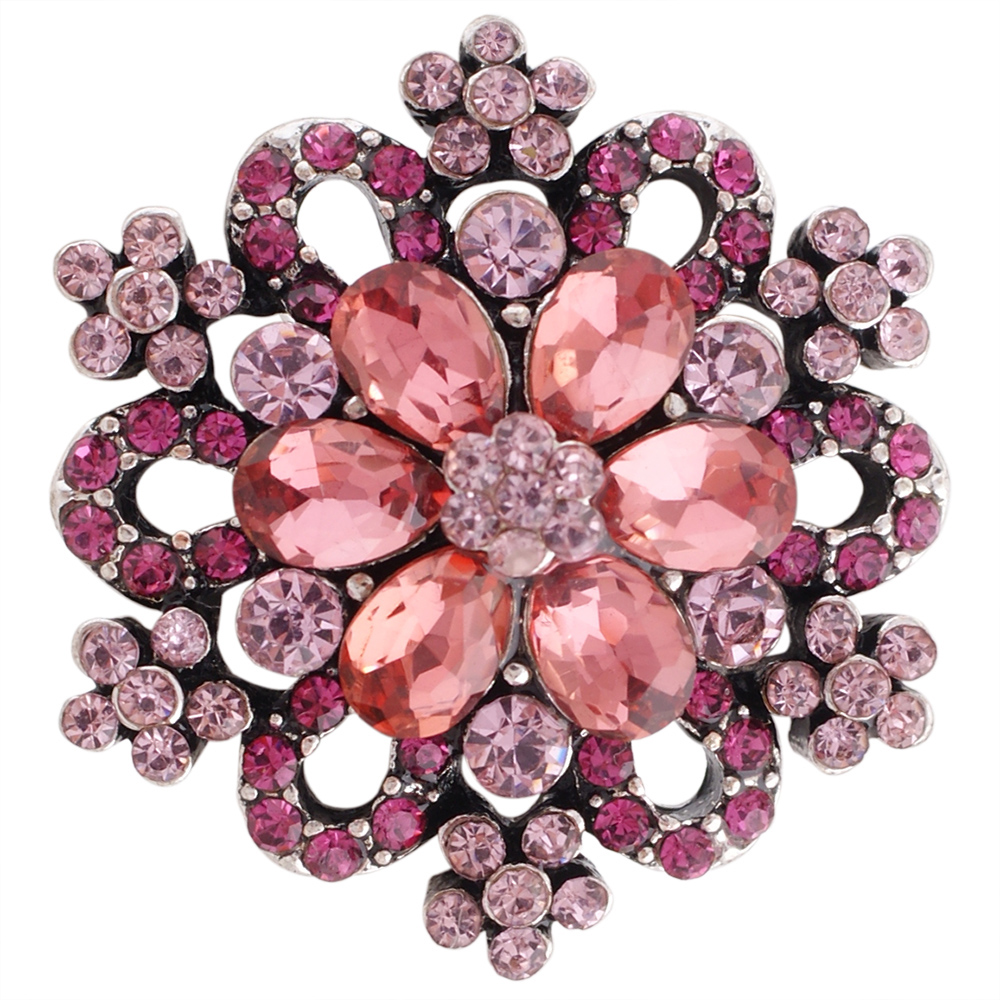 Snap Jewelry Rhinestone - Designer Flower Burst in Pinks