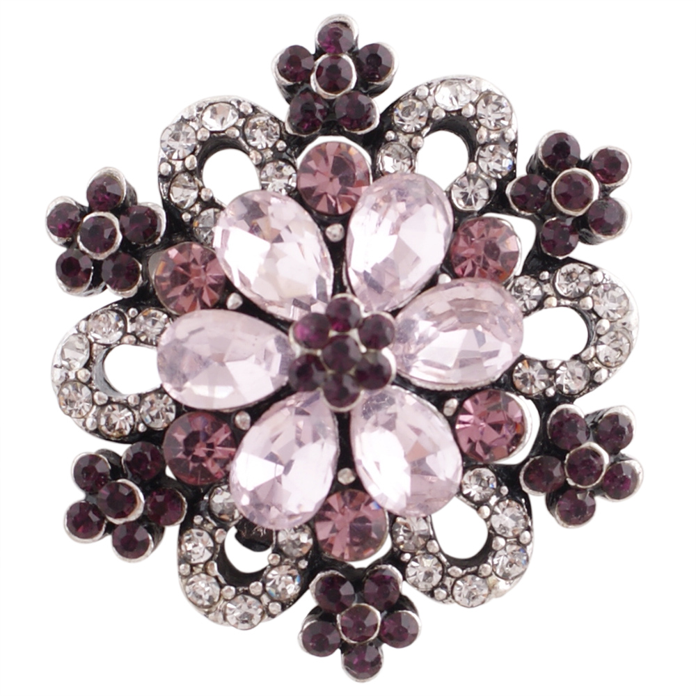 Snap Jewelry Rhinestone Flower silver Base - Shades of Pink