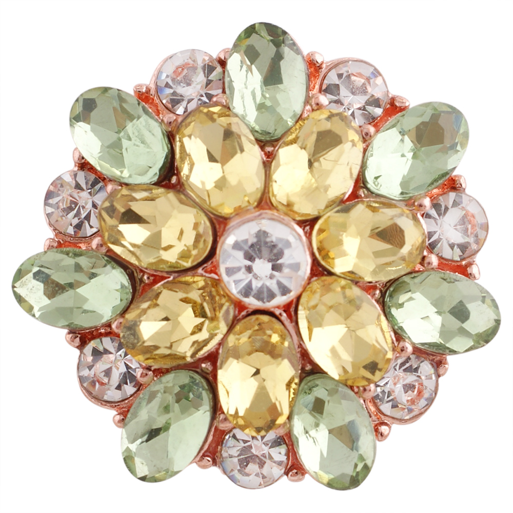 Snap Jewelry Rhinestone - Oval Flower Yellow & Green Rose Gold