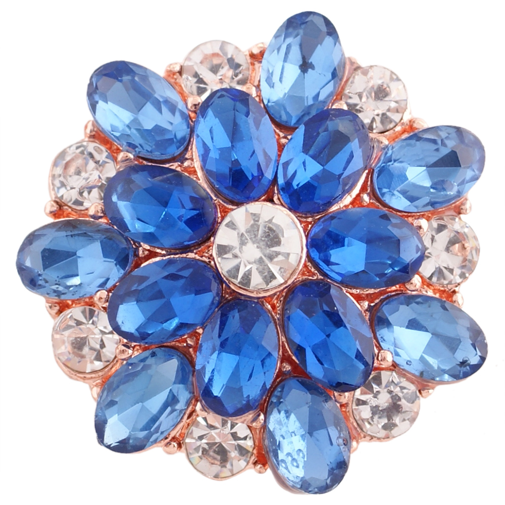 Snap Jewelry Rhinestone - Oval Flower Blue & Clear Rose Gold