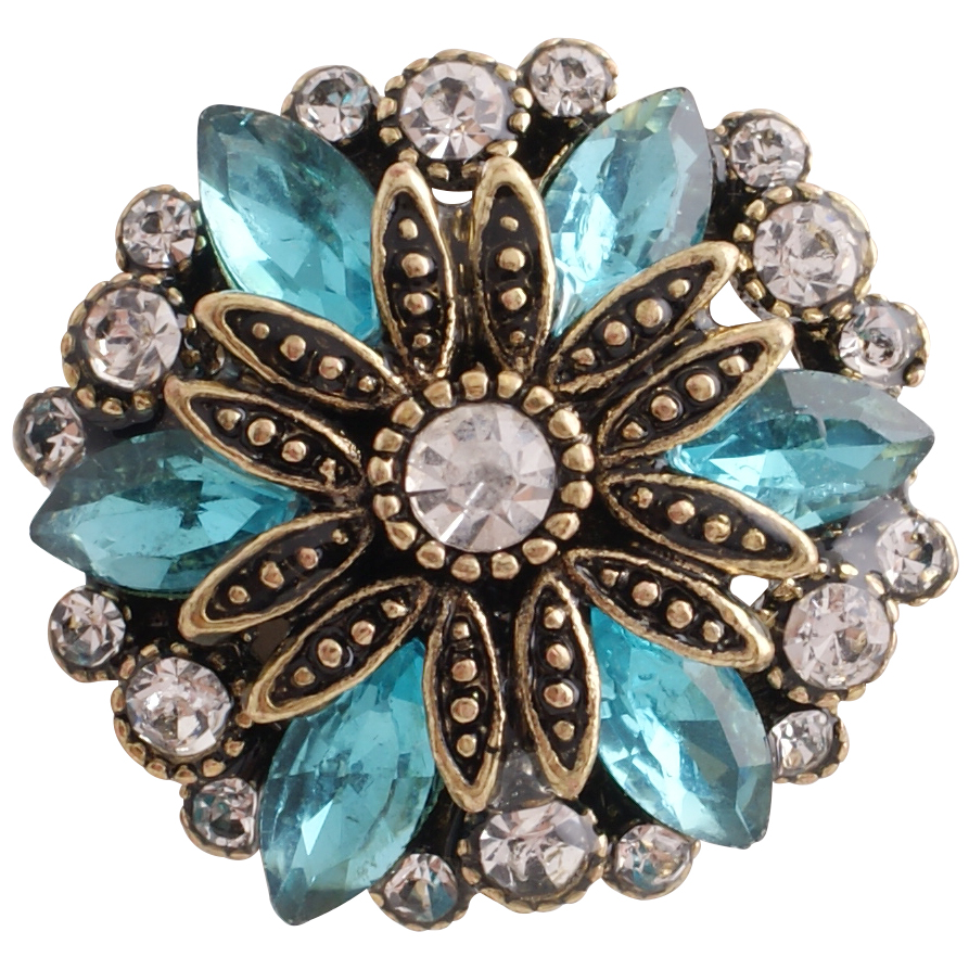 Snap Jewelry Rhinestone Flower Gold Base - Blue & Clear