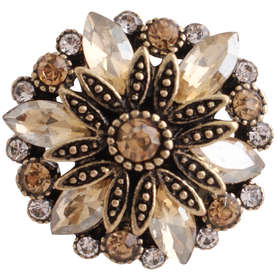 Snap Jewelry Rhinestone Marquise Flower Gold Base - Clear & Gold
