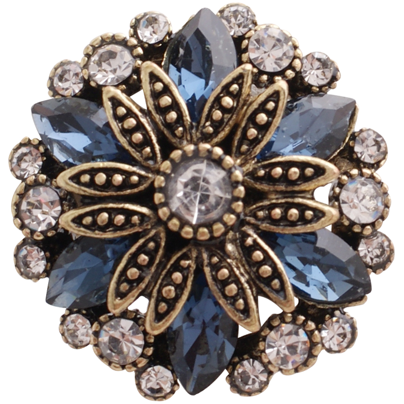 Snap Jewelry Rhinestone Marquise Flower Gold Base - Clear & Blue