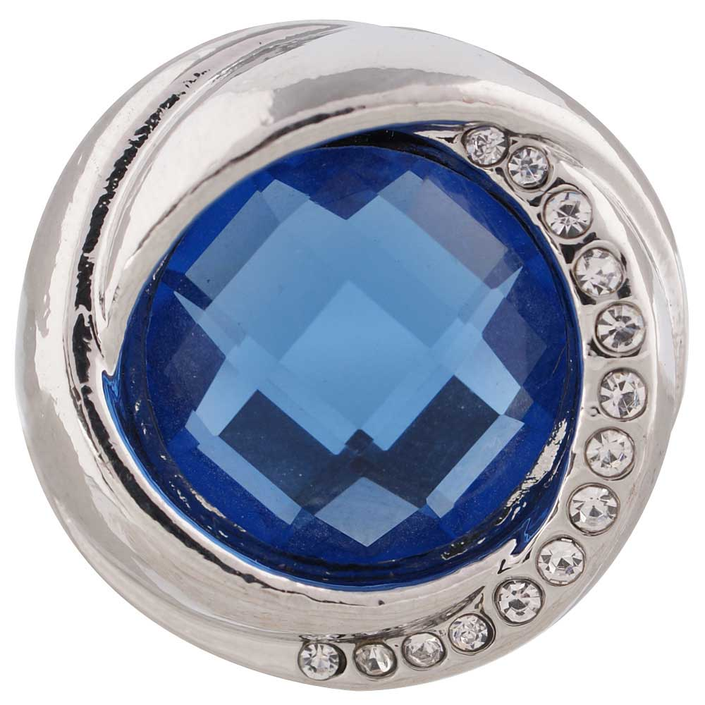 Snap Jewelry Rhinestone Faceted Swirl - Blue