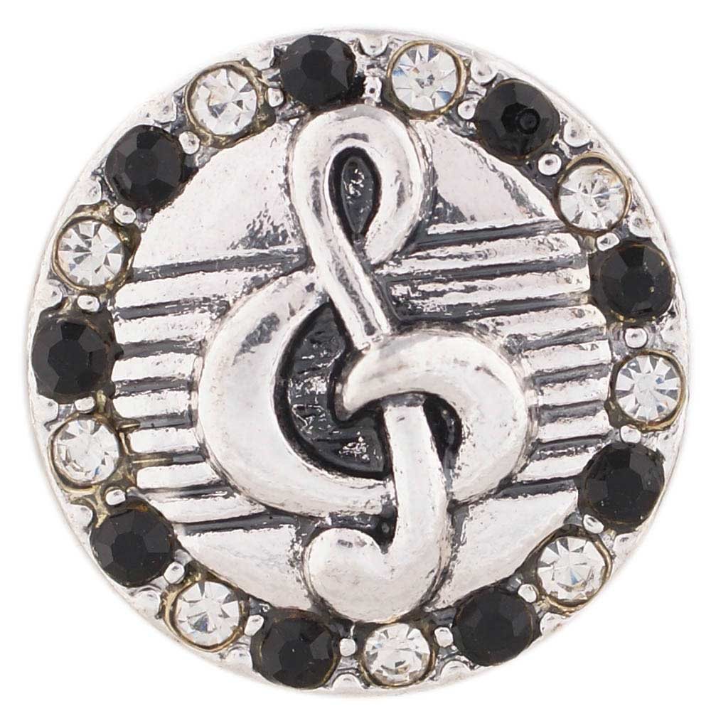 Snap Jewelry Rhinestone - Music Note Black & Clear