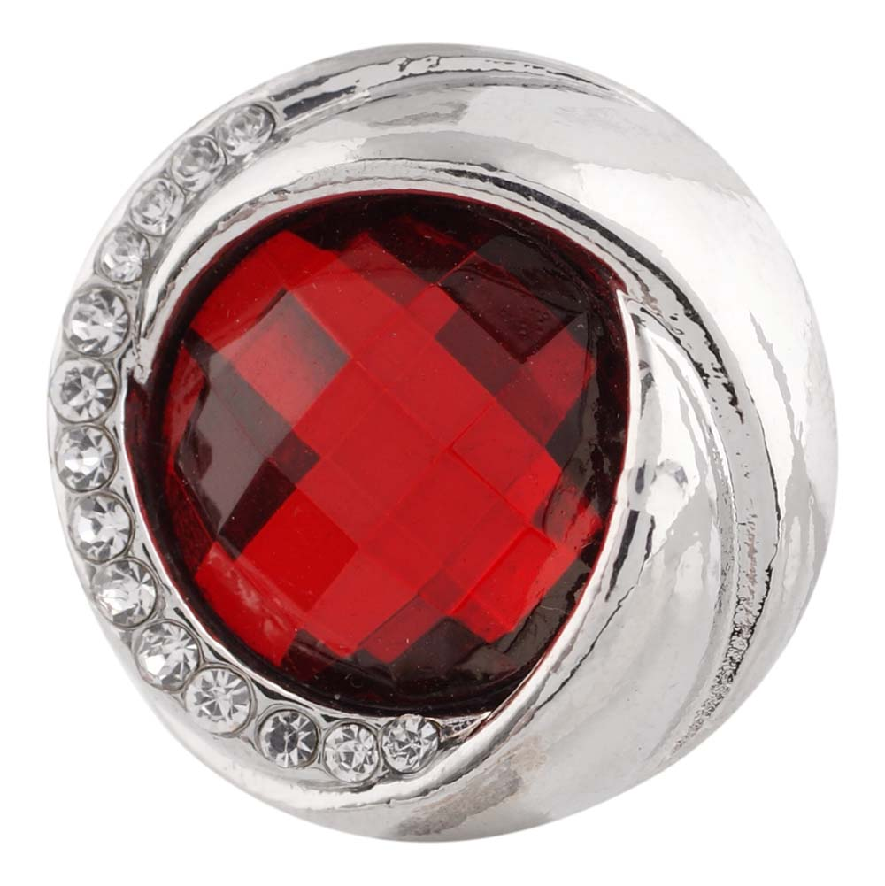 Snap Jewelry Rhinestone Faceted Swirl - Red