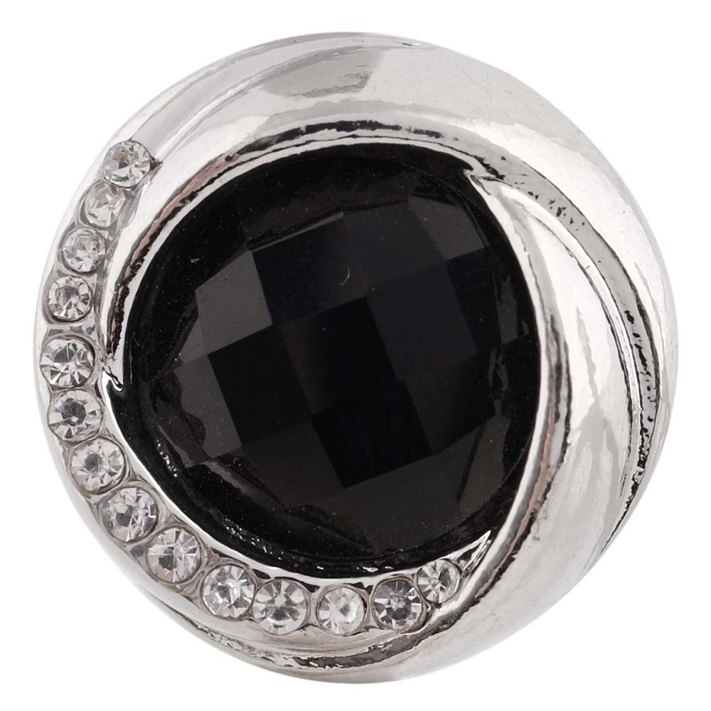 Snap Jewelry Rhinestone Faceted Swirl - Black