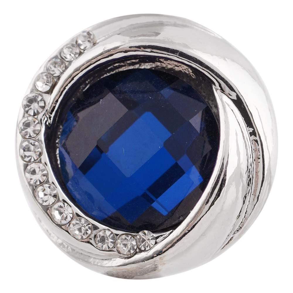 Snap Jewelry Rhinestone Faceted Swirl - Dark Blue