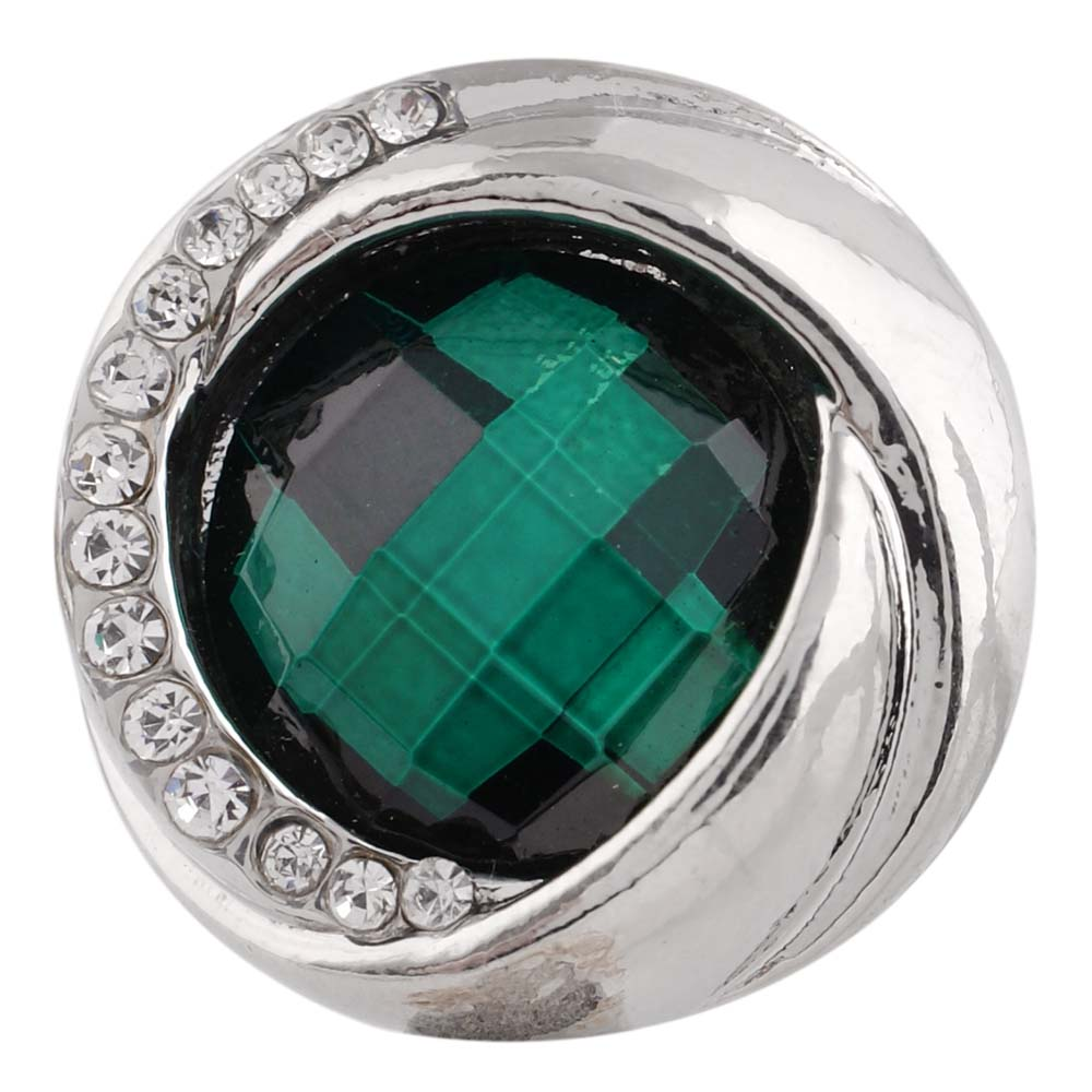 Snap Jewelry Rhinestone Faceted Swirl - Emerald Green