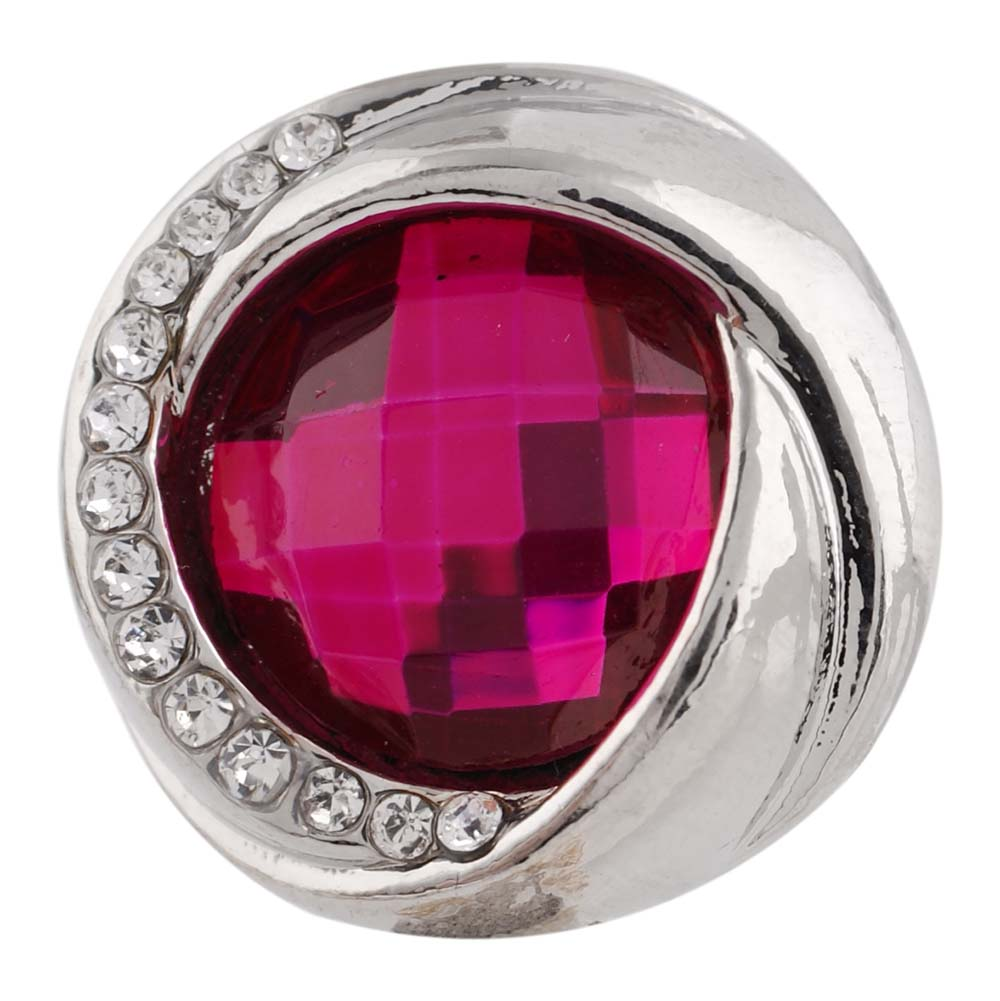 Snap Jewelry Rhinestone Faceted Swirl - Fuchsia Pink