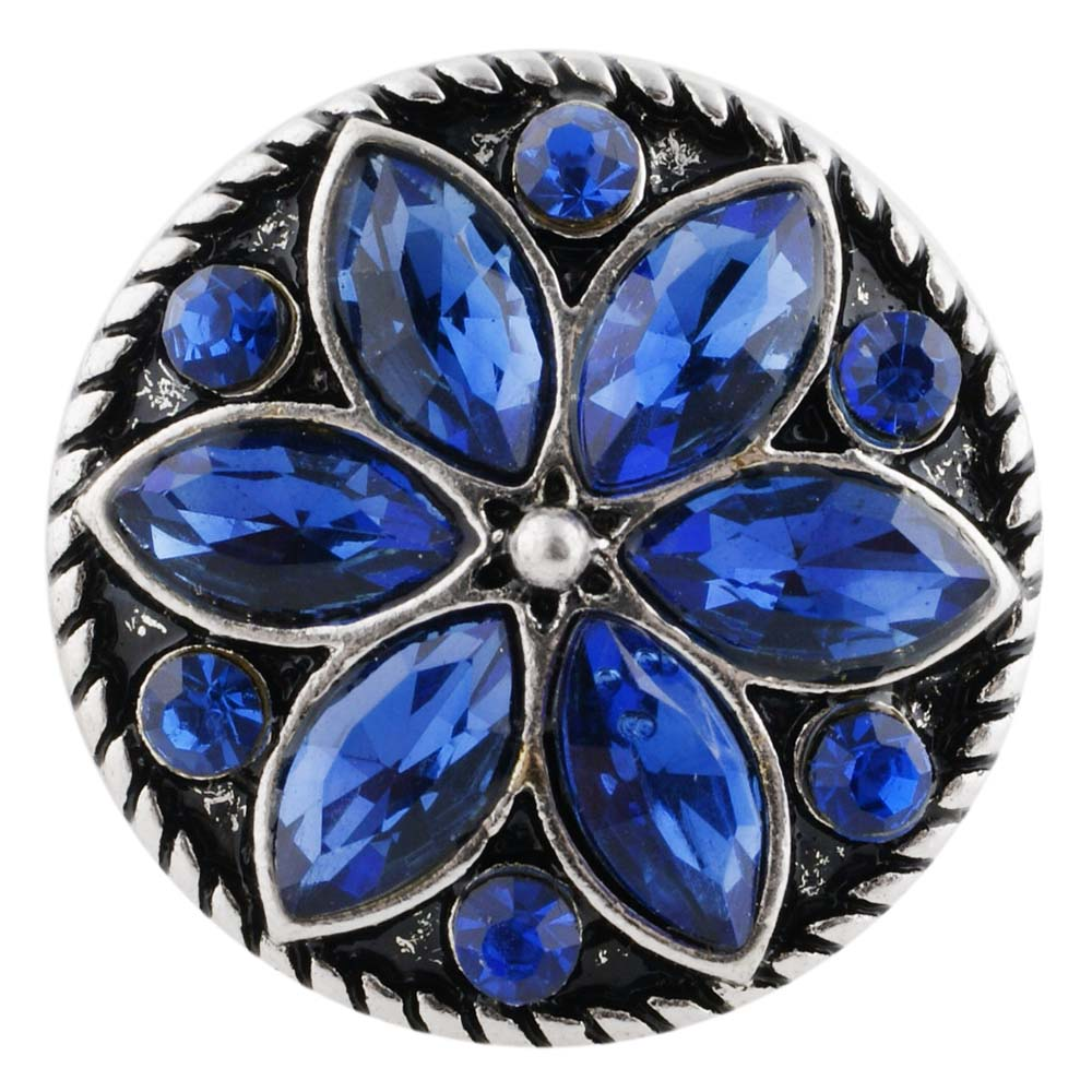 Snap Jewelry Rhinestone Flower Dark Blue