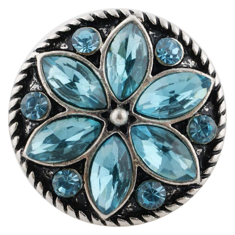 Snap Jewelry Rhinestone Flower Light Blue