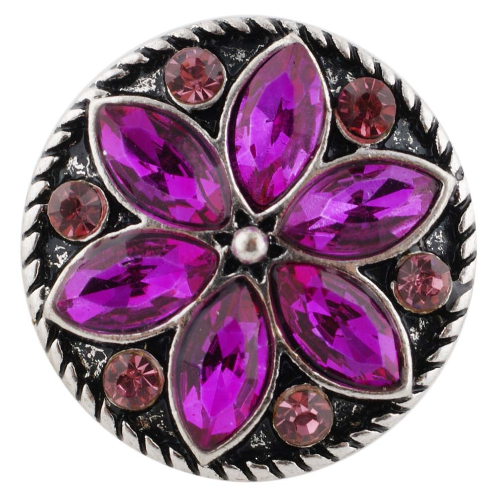 Snap Jewelry Rhinestone Flower Dark Pink Fuchsia