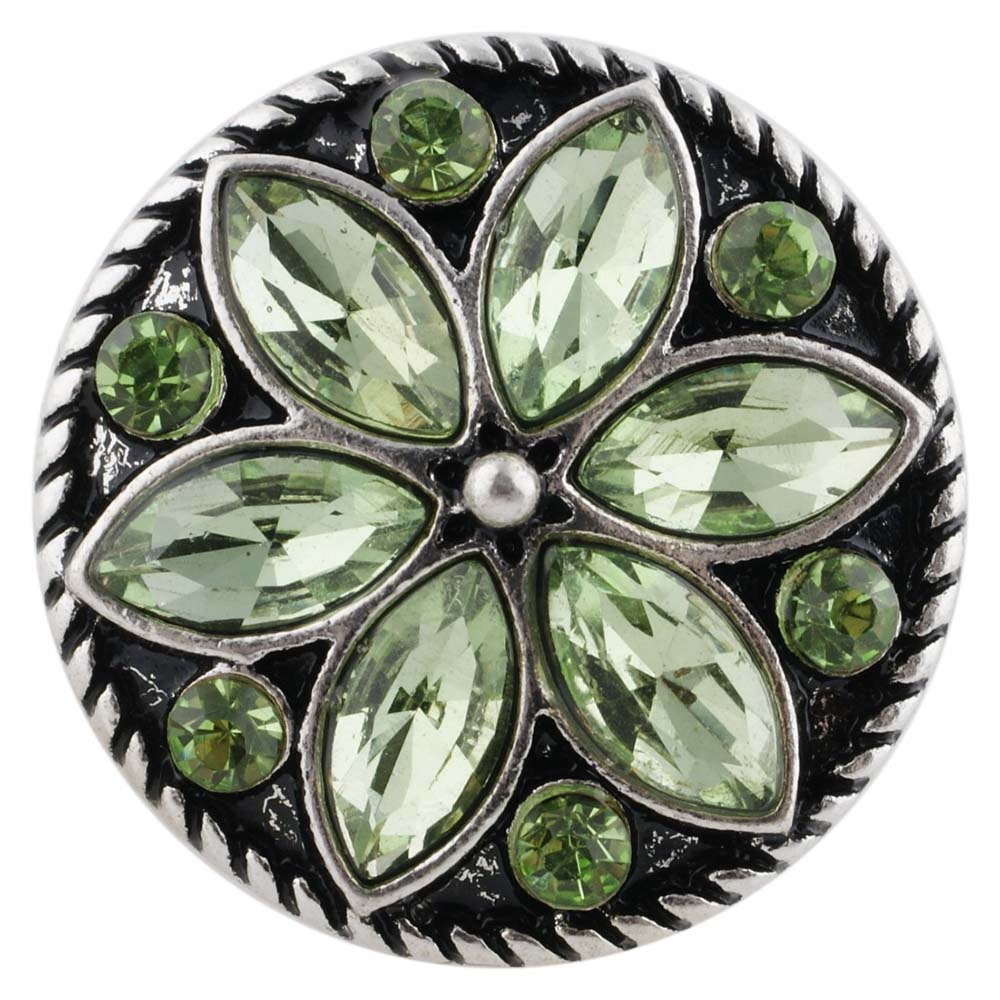 Snap Jewelry Rhinestone Flower Light Green Peridot
