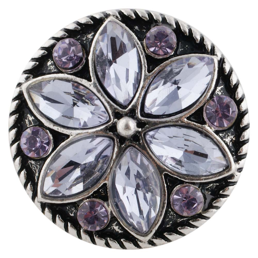 Snap Jewelry Rhinestone Flower Light Lavender Purple