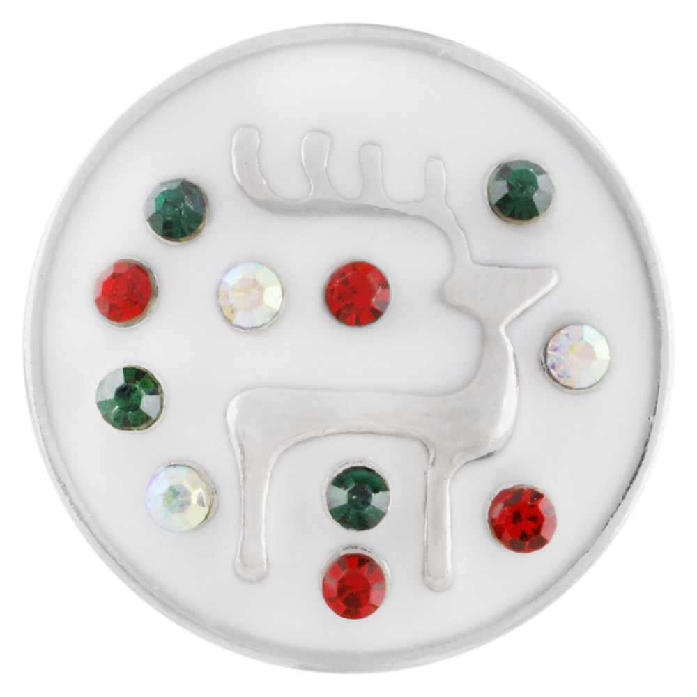 Snap Jewelry 18-20mm Enamel Reindeer Christmas Holiday Snap
