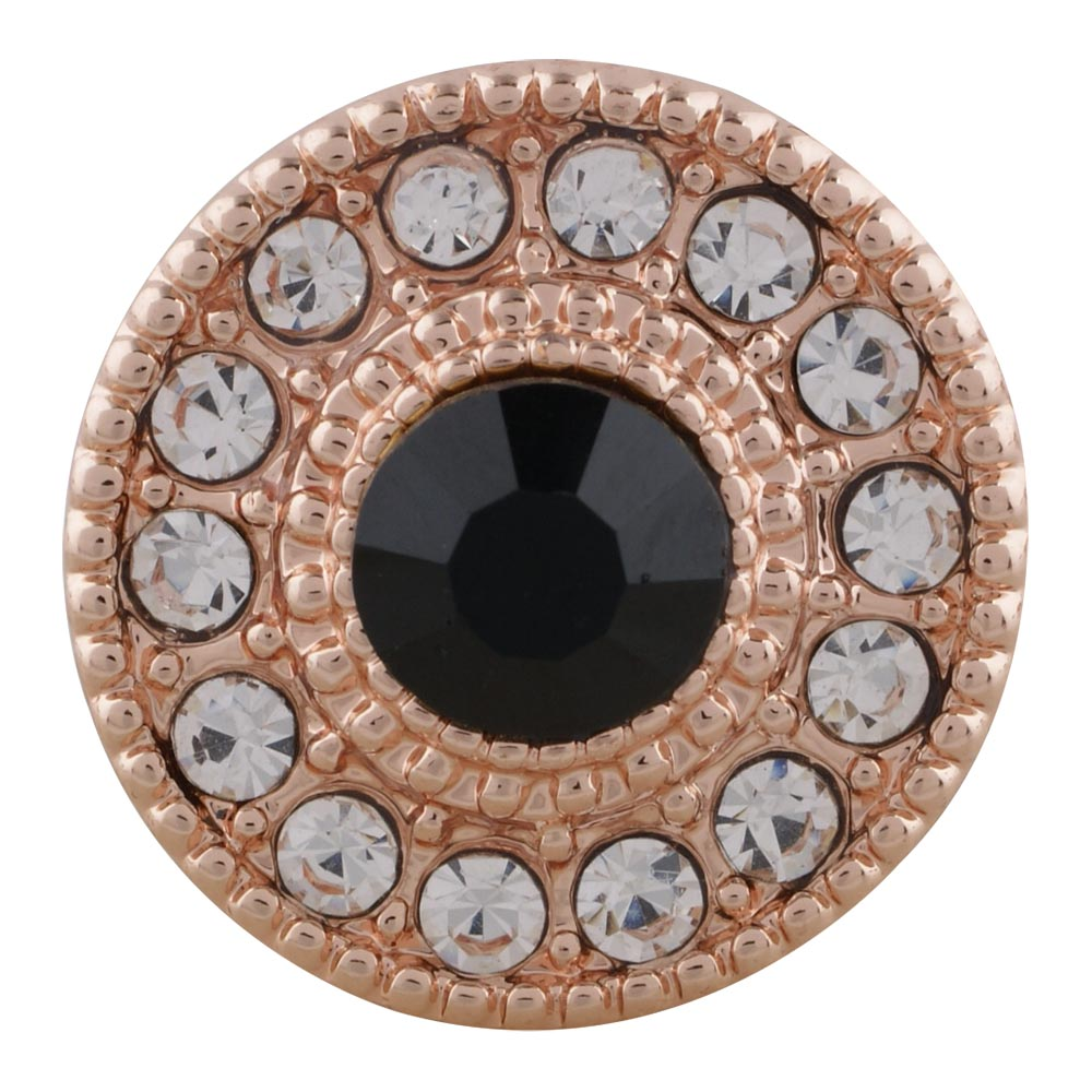Snap Jewelry Rhinestone Halo Rose Gold Tone - Black & Clear