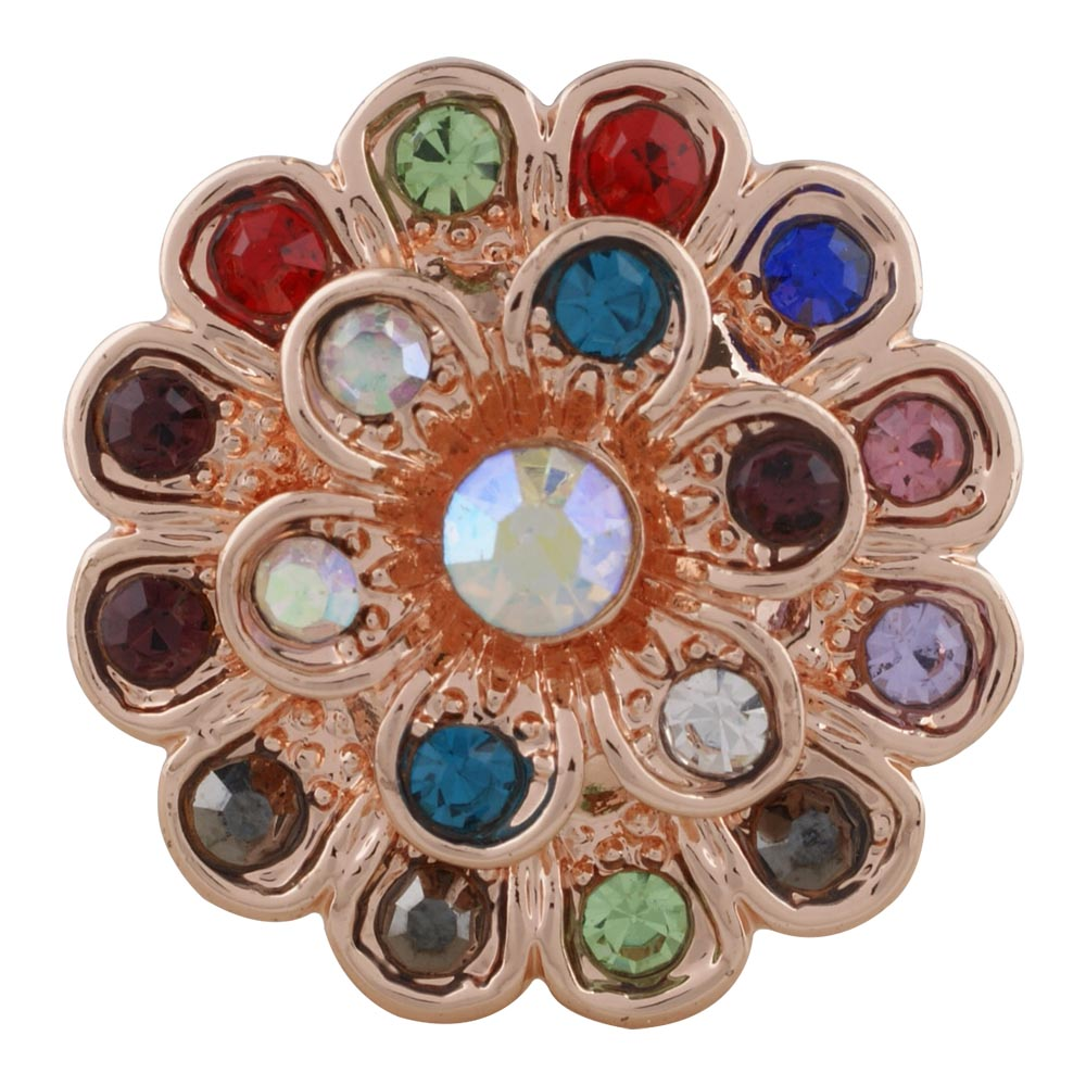 Snap Jewelry Rhinestone Flower Multi Color & AB Rose Gold Tone