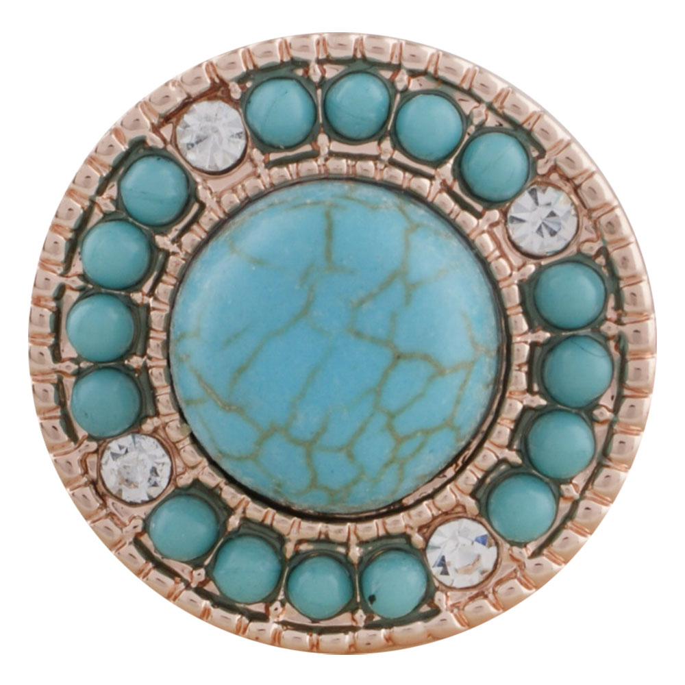 Snap Jewelry Turquoise Halo Rose Gold Tone & Clear Stones