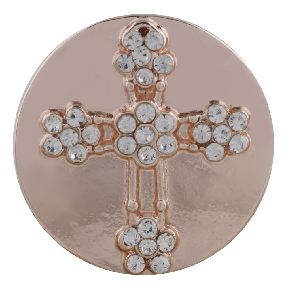 Snap Jewelry Rhinestone On Rose Gold - Cross Clear