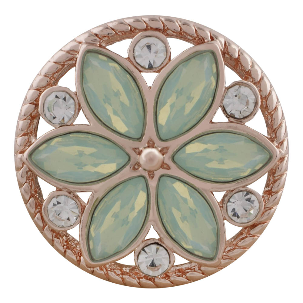 Snap Jewelry Rhinestone - Rose Gold-Tone Lime/Clear Flower