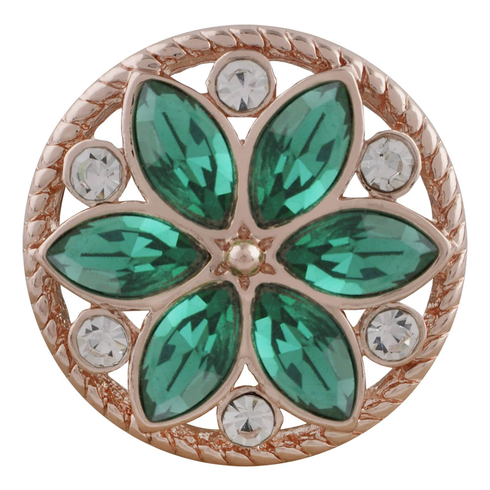 Snap Jewelry Rhinestone - Rose Gold-Tone Green/Clear Flower