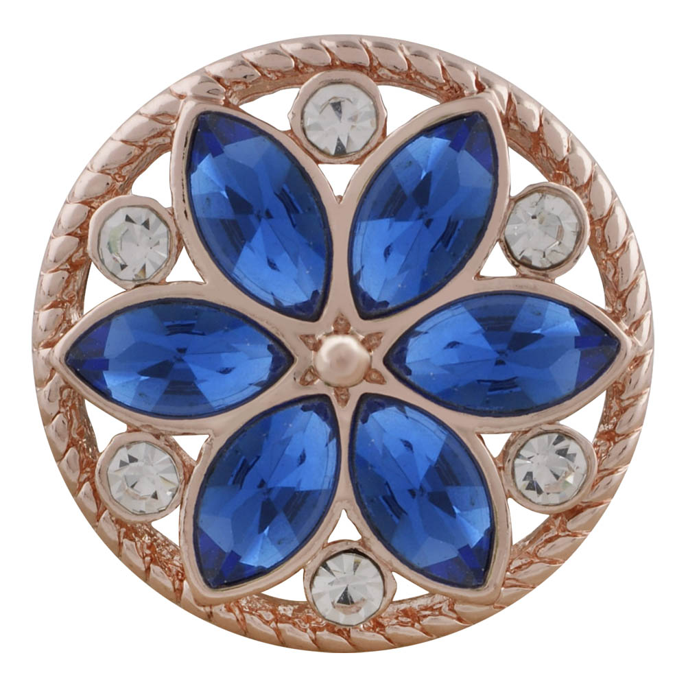 Snap Jewelry Rhinestone - Rose Gold-Tone Blue & Clear Flower
