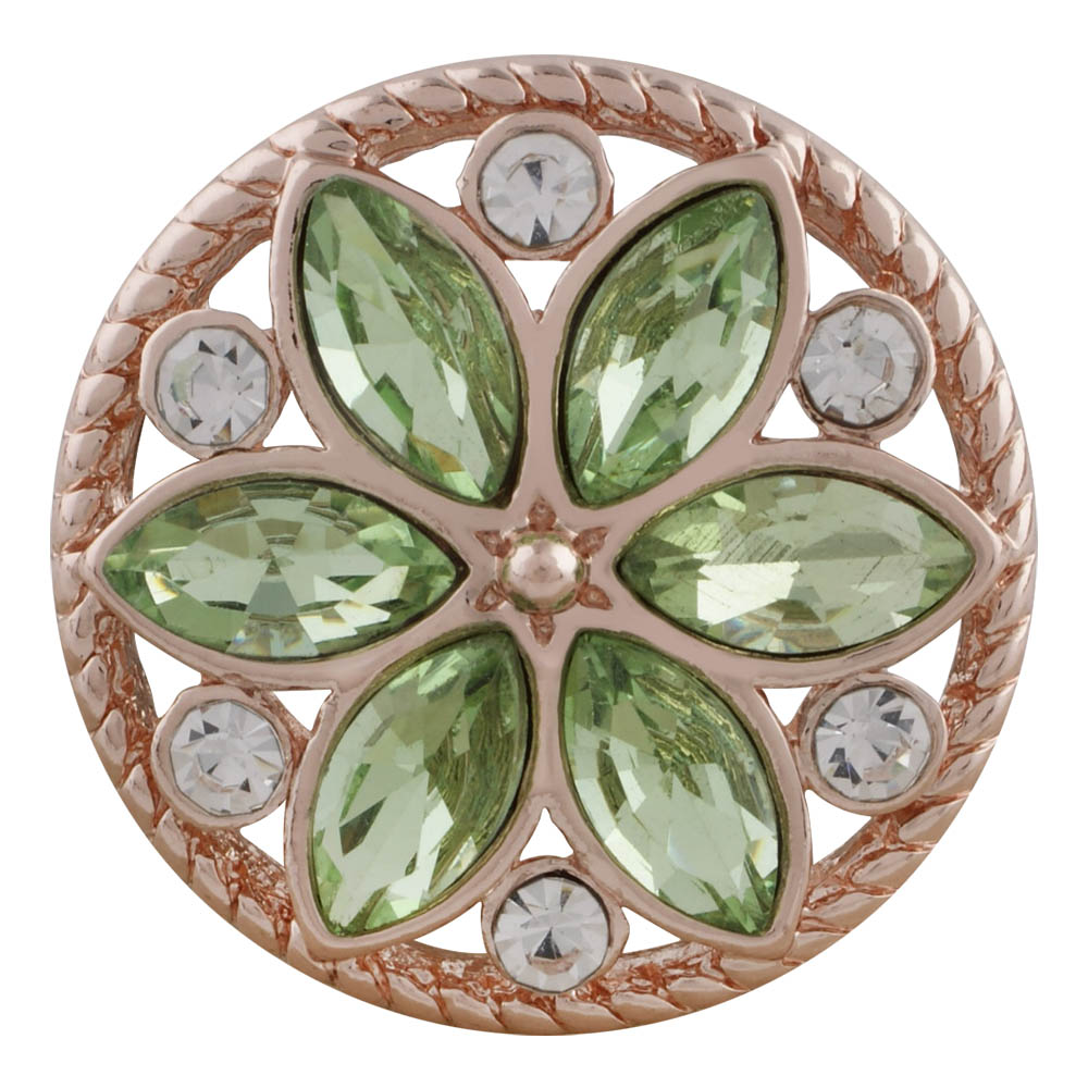 Snap Jewelry Rhinestone - Rose Gold-Tone Peridot Flower