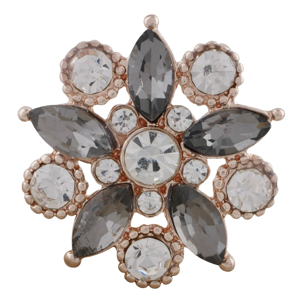Snap Jewelry Rhinestone - Rose Gold-Tone Gray Flower