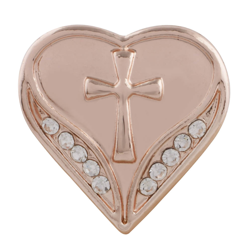 Snap Jewelry Rhinestone - Rose Gold Tone Heart & Cross