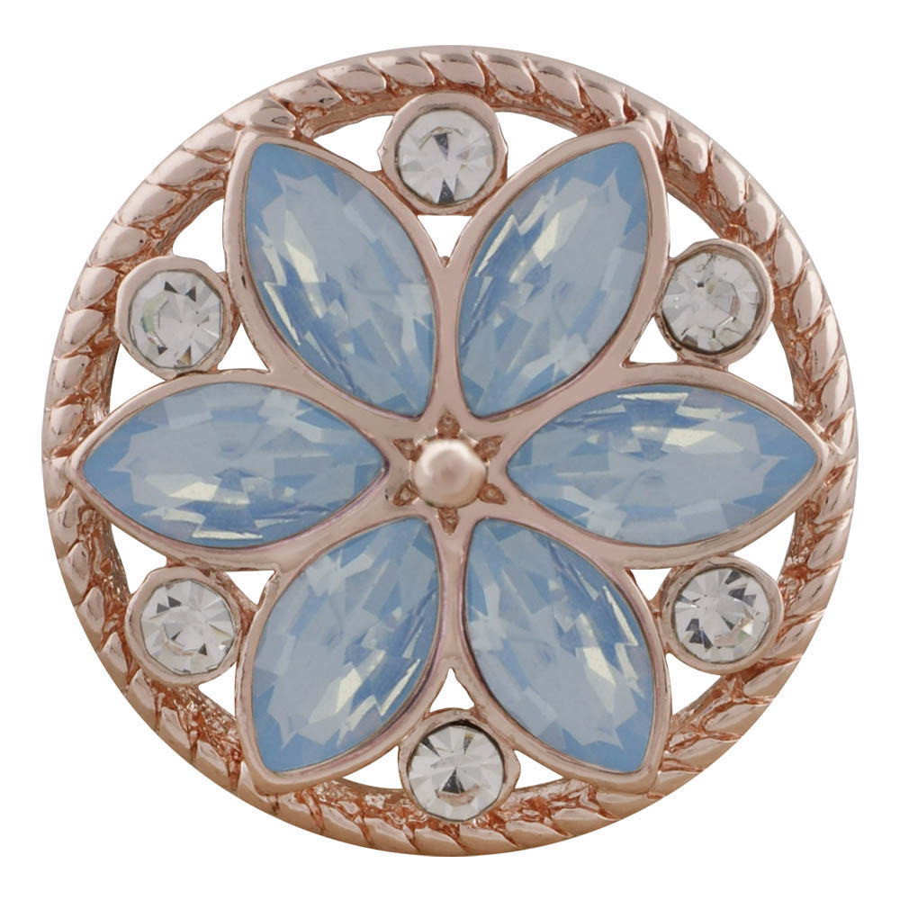 Snap Jewelry Rhinestone - Rose Gold-Tone Blue Opal Flower