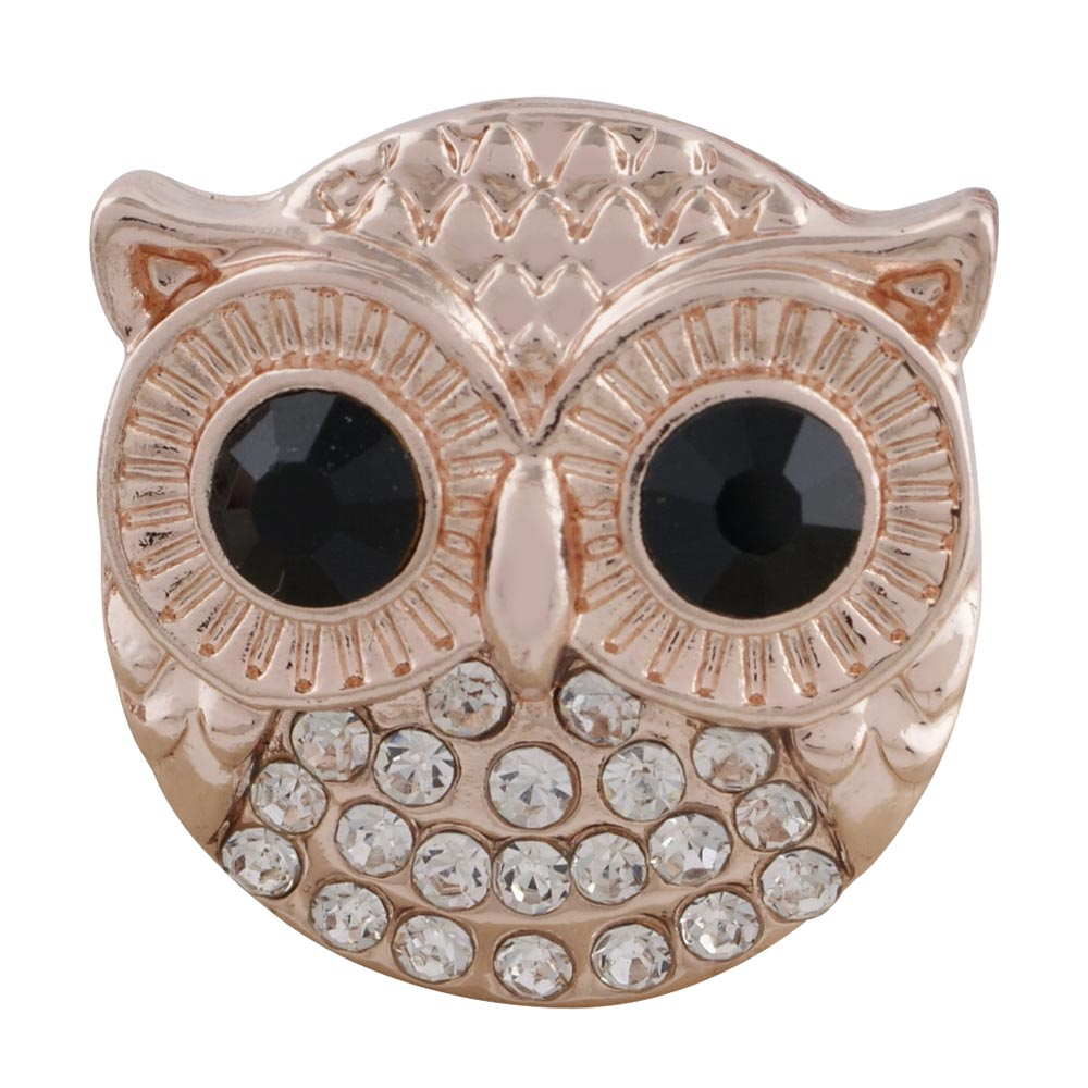 Snap Jewelry Rhinestone - Owl Rose Gold-tone Black Eyes
