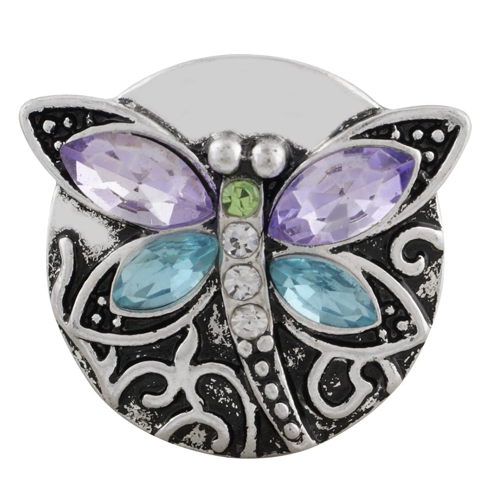 Snap Jewelry Rhinestone - Dragonfly Blue & Purple Wings
