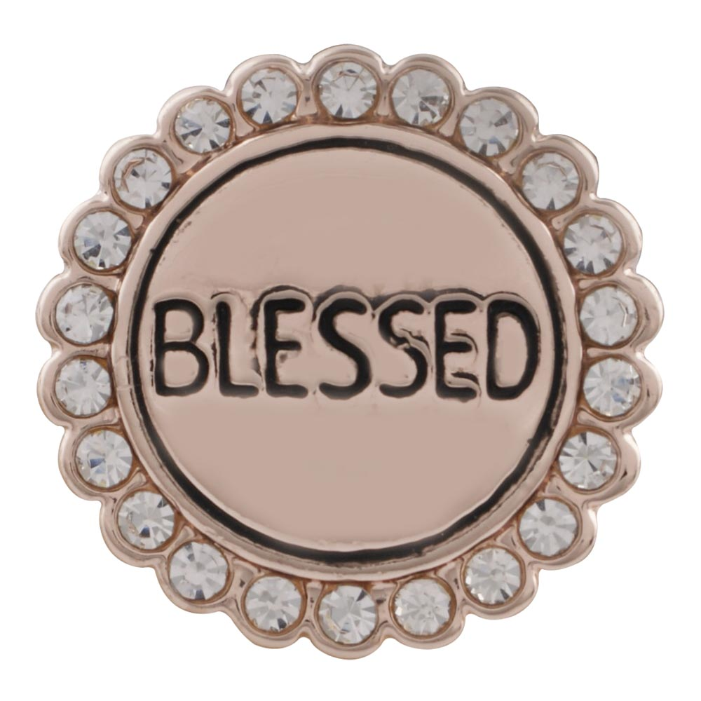 "Snap Jewelry Rhinestone - Rose Gold-Tone Halo ""Blessed"""