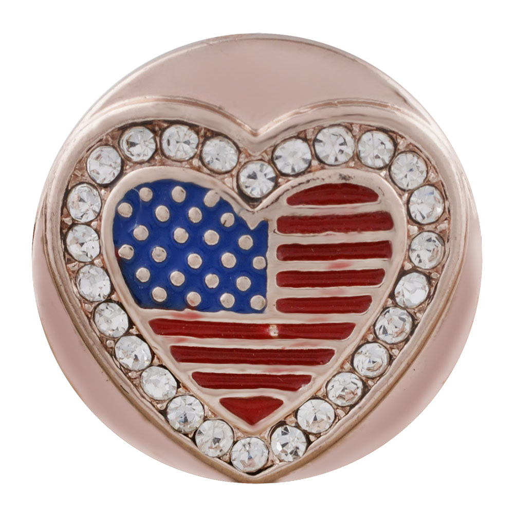 Snap Jewelry Rhinestone - Rose Gold-Tone Flag in Bling Heart