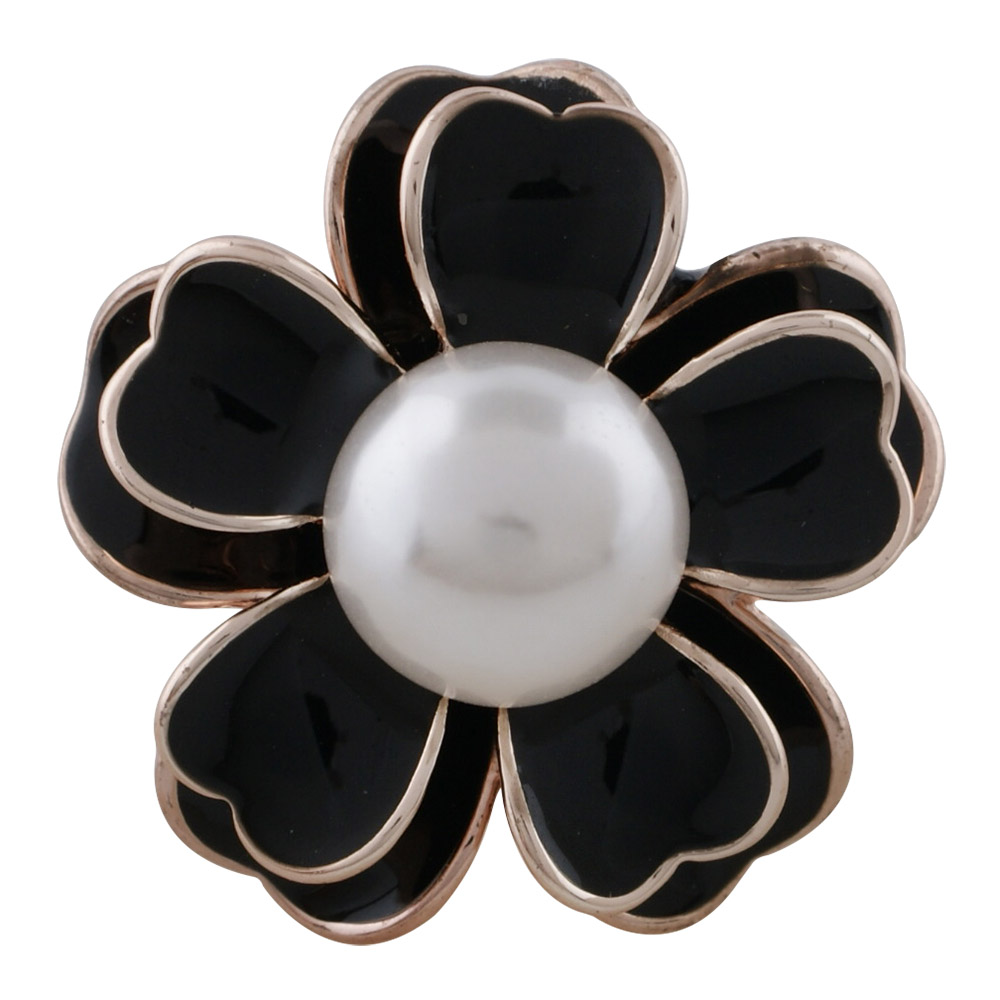 Snap Jewelry Pearl - Rose Gold-Tone Black Enamel