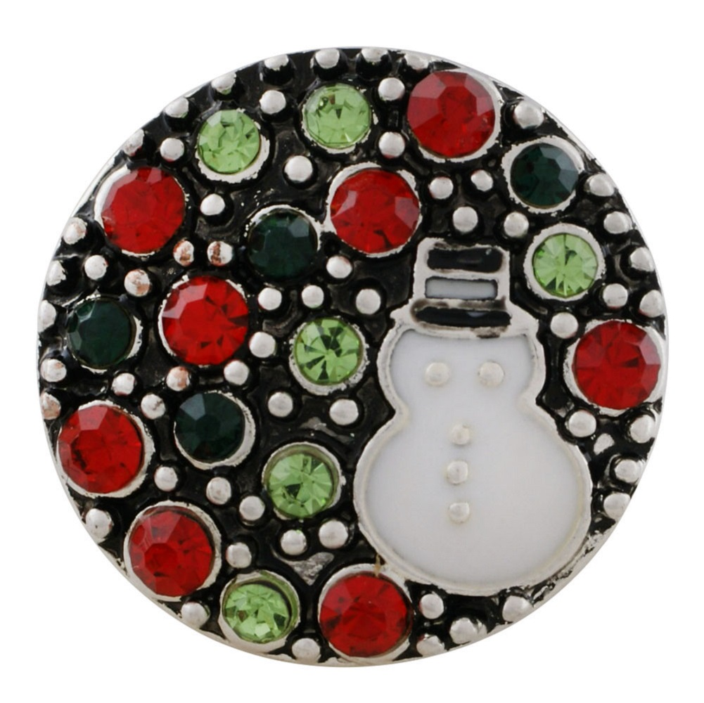 Snap Jewelry Rhinestone - Christmas Snowman Colorful Stones