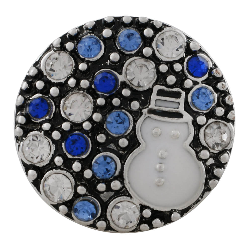 Snap Jewelry Rhinestone - Winter Snowman Blue & White Stones