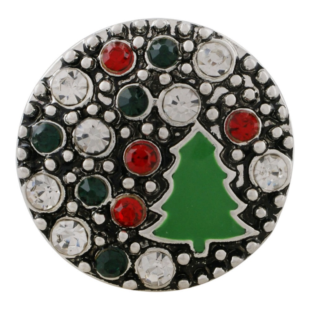 Snap Jewelry Rhinestone - Christmas Tree Colorful Stones