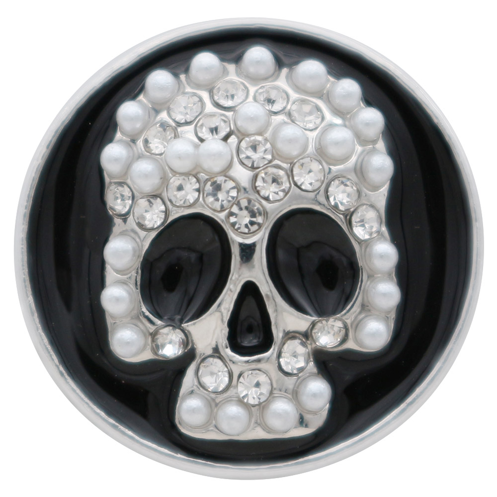 Snap Jewelry Enamel - Skull White Pearls & Clear Rhinestones