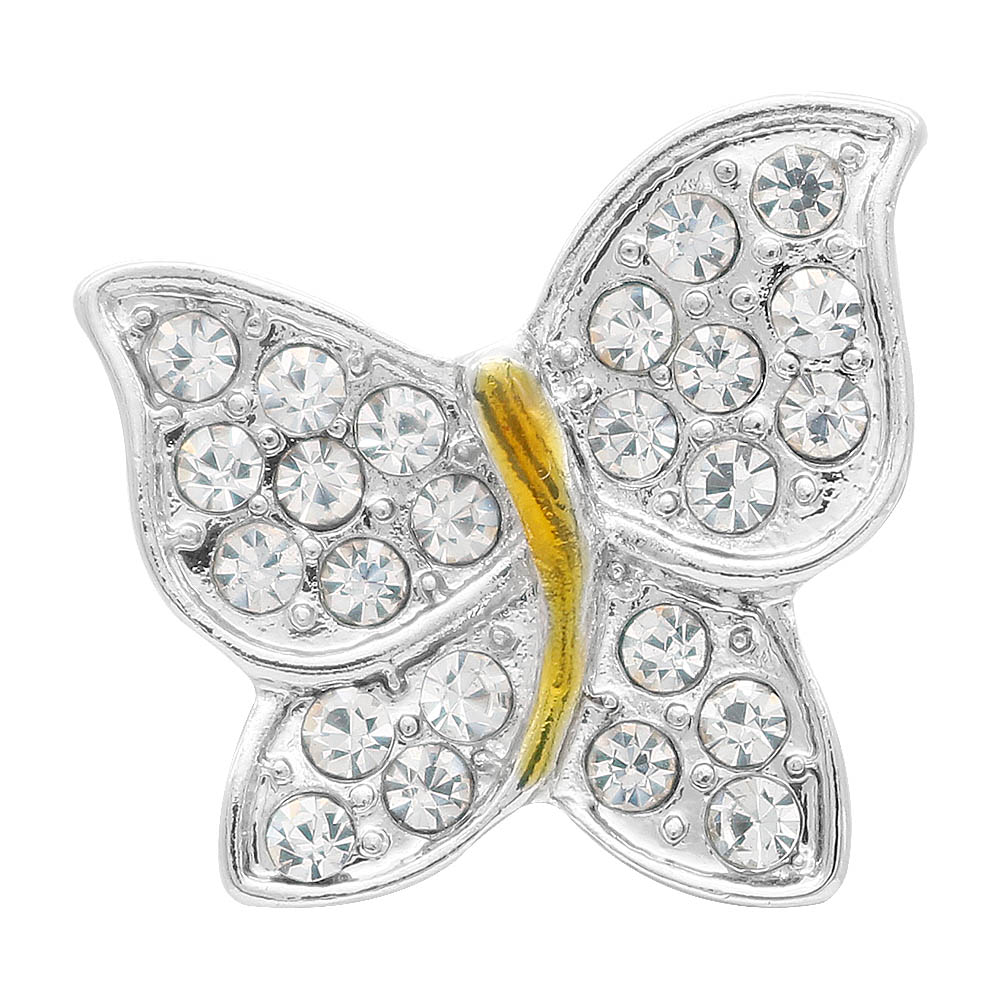 Snap Jewelry Rhinestone - Butterfly Clear Stones