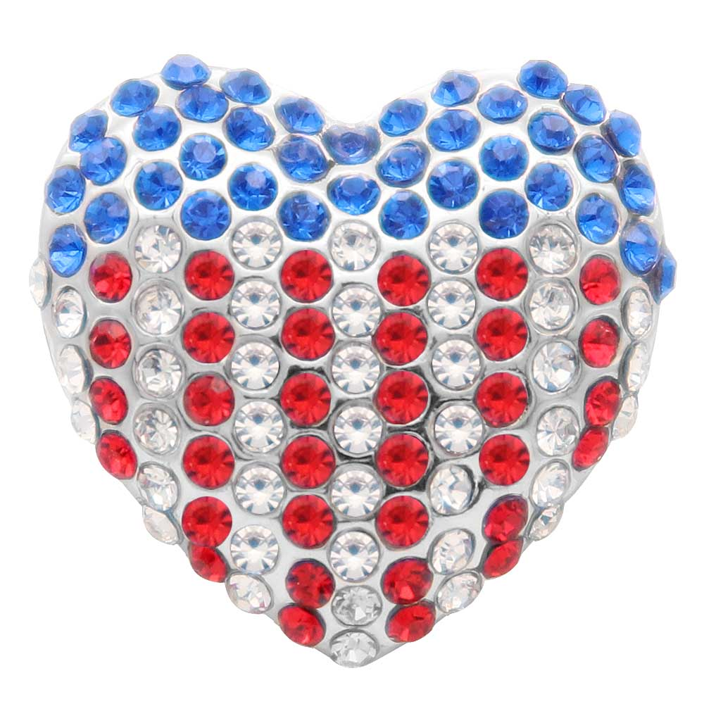 Snap Jewelry Rhinestone - Metal Flag Heart Red White & Blue